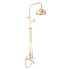 F5404/2OR Душевая система с верхним душем 200mm изливом на ванну и ручным душем Fima Carlo Frattini серия Herend золото