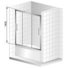 Шторка для ванной Cezares TRIO-V-22-150/145-C-Cr