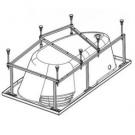 112433 Монтажный комплект к ванне акриловой асимметричной Ибица 150х100 Santek