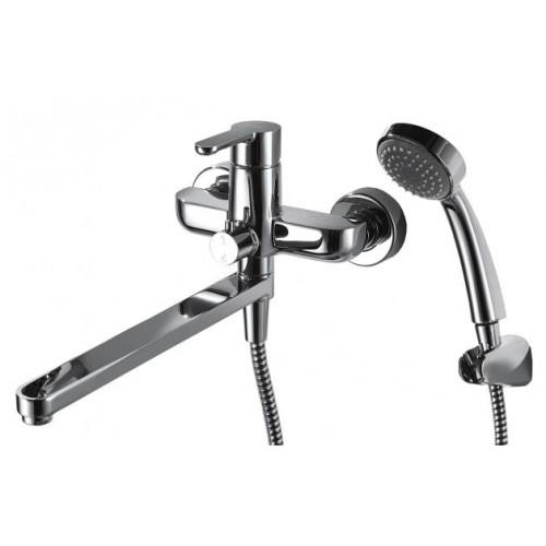 STREAM cмеситель для ванны с длинным изливом и душевой лейкой Bravat 7F63783C-LB