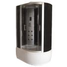 Душевая кабина FARO 5003 L/R, задняя черная стеклянная панель, серое стекло, серый поддон 220x120x85