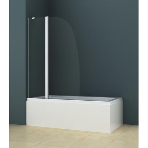 Душевая шторка на ванну AZ-142 (70+30)x140 хром 6 мм прозрачное стекло Azario