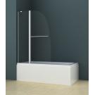 Душевая шторка на ванну AZ-142TB (70+30)x140 с поручнем хром 6 мм прозрачное стекло Azario
