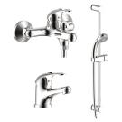 SET35-80 Набор смесителей 3 в 1 (для ванны + для умывальника + душевой гарнитур) хром Lemark