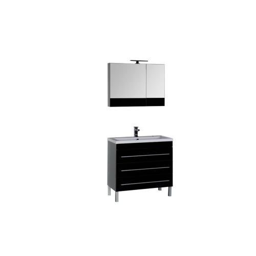 Набор мебели для ванной Aquanet Верона 90 черный (напольный 3 ящика)