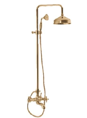 F5084/2BR Душевая система с верхним душем 200 мм изливом на ванну и ручным душем Fima Carlo Frattini серия Elizabeth бронза