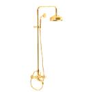 F5084/2OR Душевая система с верхним душем 200 мм изливом на ванну и ручным душем Fima Carlo Frattini серия Elizabeth золото