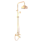 F5404/2OR Душевая система с верхним душем 200 мм изливом на ванну и ручным душем Fima Carlo Frattini серия Herend золото