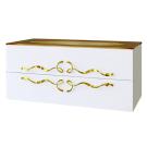 Тумба с умывальником подвесная с золотыми ручками со стеклянной раковиной (Золото) Aqwella Дуо Аманти Due.01.10/W/GL Белая