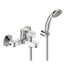 Логик смеситель для ванны/душа, настенный, литой излив 152-157мм, лейка 70мм, держатель, шланг 1500мм, хром Vidima BA279AA