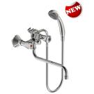 Практик смеситель для ванны двуручковый, излив 250 мм, без донного клапана, хром Vidima BA229AA