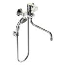 Уно смеситель для ванны/душа, керамический переключатель, установка на стену, трубчатый поворотный излив 250 мм, лейка 70мм, держатель, шланг 1500мм, хром Vidima BA239AA
