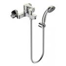 Уно смеситель для ванны/душа, керамический переключатель, установка на стену, трубчатый поворотный излив 320 мм, лейка 70мм, держатель, шланг 1500мм, хром Vidima BA240AA