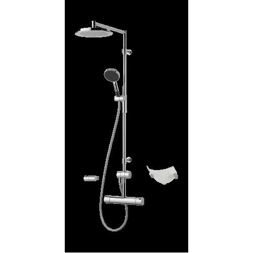 Oras 2892 Cubista Термостатический смеситель для ванны и душа с фиксированной душевой штангой, верхним душем, ручным душем, держателем для душа и мыльницей