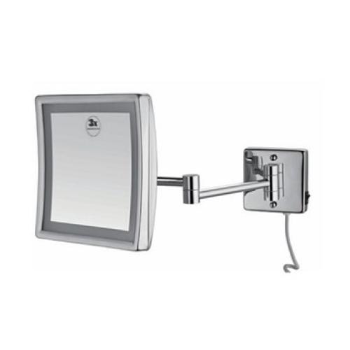 64H8-10 ECO Зеркало косметическое с подсветкой квадрат 3х-кратное увеличение хром Dededimos