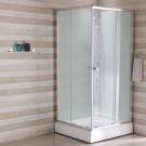 Кабина душевая квадратная дверки двойные раздвижные профиль глянцевый стекло прозрачное 90*90*202 см поддон низкий Sicily IDDIS S10S099i21