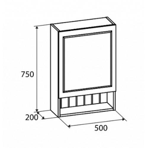 Шкаф-зеркало 50 см Magellan MAG5000M99 Milardo правое