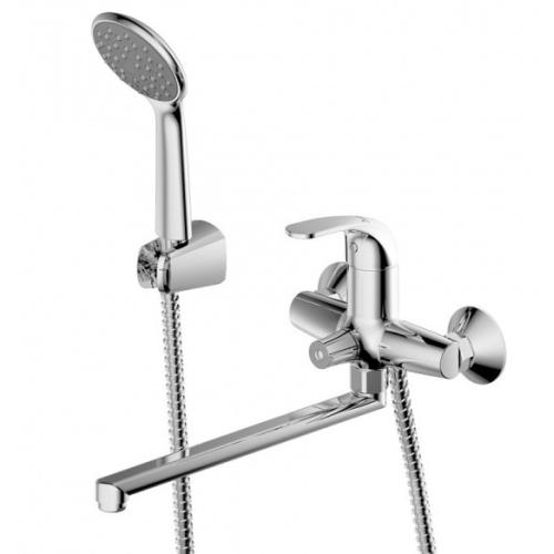 FIT смеситель для ванны с длинным изливом и душевой лейкой Bravat 7F6135188CP-LB-RUS