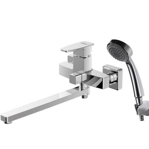 RIFFLE смеситель для ванны с длинным изливом и душевой лейкой Bravat F672106C-LB