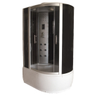 Душевая кабина FARO 5003 L/R, задняя черная стеклянная панель, серое стекло, белый поддон 220x120x85