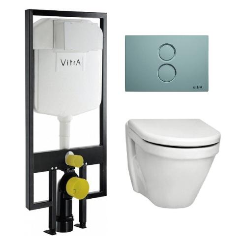 VITRA Комплект: подвесной унитаз S-50 с сиденьем микролифт, инсталляцией 740-5800-01 и панелью управления