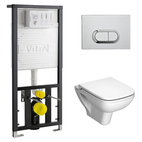 VITRA Комплект: подвесной унитаз S-20 с сиденьем микролифт, инсталляцией 742-5800-01 и панелью управления 740-0580