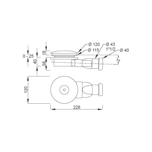 E78168-CP сифон d 120 мм (хром) Jacob Delafon