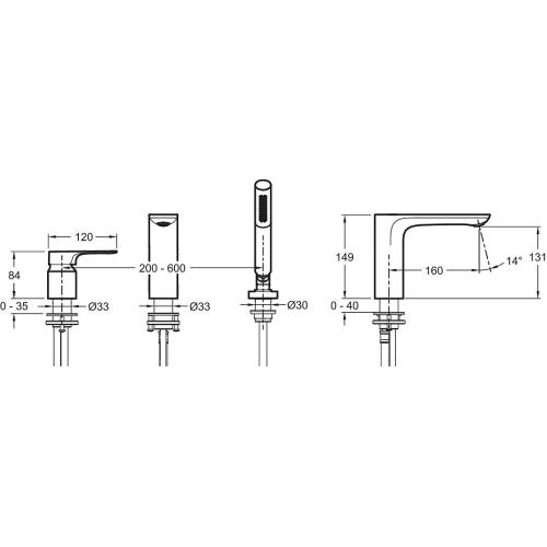 E72330-CP смеситель для ванны ALEO+ ручной душ (хром) Jacob Delafon