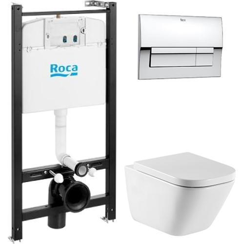 Инсталляция Roca с унитазом Roca Gap c сиденьем микролифт и кнопкой хром