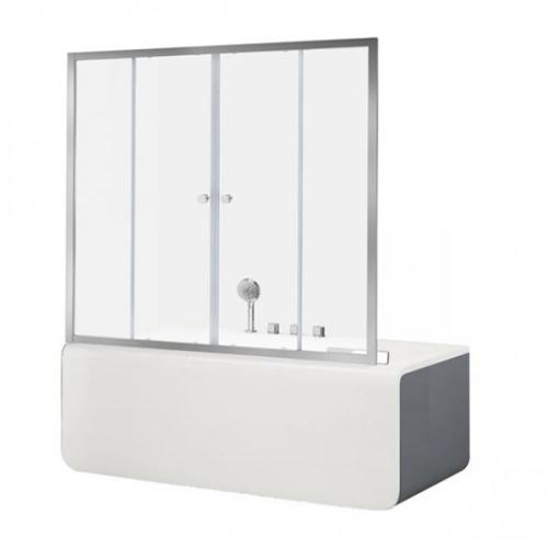 Aquanet NAA6142 Alfa 5 шторка для ванны 1600x1400 стекло прозрачное 6 мм профиль хром (196044)