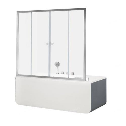 Aquanet NAA6142 Alfa 5 шторка для прямоугольной ванны 1500x1400 стекло прозрачное 6 мм профиль хром (196042)