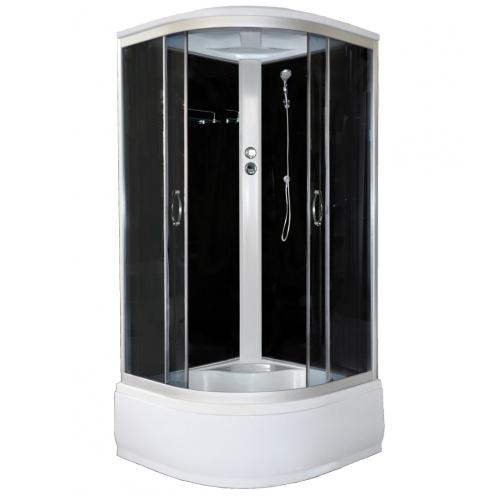 Душевая кабина CS-1100 Hi G, 110х110х215 высокая серая стекло 4 мм поддон 43 см