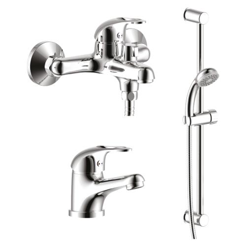SET35-80 Набор смесителей 3 в 1 (для ванны + для умывальника + душевой гарнитур) хром Rossinka
