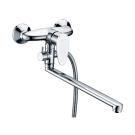 Leine 3502L Смеситель для ванны с длинным поворотным изливом 350 мм хром Wasser Kraft 9060916