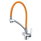 LM3070C-Orange Lemark Комфорт Смеситель для кухни с гибким изливом подключение к фильтру питьевой воды хром/оранжевый
