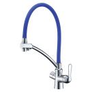 LM3070C-Blue Lemark Комфорт Смеситель для кухни с гибким изливом подключение к фильтру питьевой воды хром/синий
