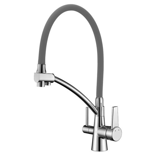 LM3071C-Gray Lemark Комфорт Смеситель для кухни с гибким изливом с подключением к фильтру питьевой воды хром