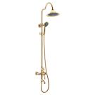 LM5562GG Lemark Грик Смеситель для ванны с верхней душевой лейкой Тропический дождь с поворотным изливом золото