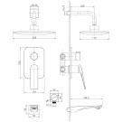 LM5922CW Lemark Смеситель для ванны и душа встраиваемый с дополнительной 1-функциональной лейкой хром/бел