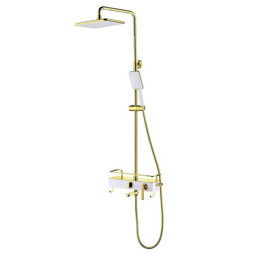 LM6462WG Lemark Миста Смеситель для ванны с верхней душевой лейкой Тропический дождь поворотный излив белый/золото
