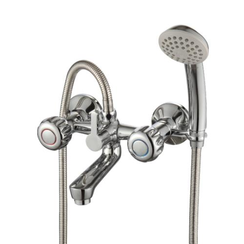 K02-83 Rossinka Смеситель для ванны с коротким изливом с держателем на теле хром