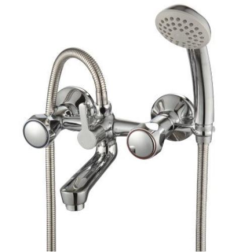 L02-83 Rossinka Смеситель для ванны с коротким изливом с держателем на теле хром
