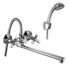 Q02-80 Rossinka Смеситель двуручный для ванны с плоским изливом 350 мм хром