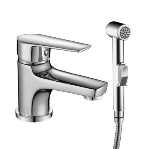 S35-15 Rossinka Смеситель одноручный монолитный для умывальника и биде с гигиеническим душем хром