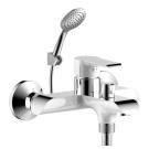 W35-31 Rossinka Смеситель одноручный для ванны с коротким изливом дивертор хром/белый