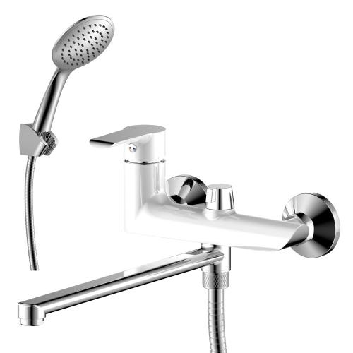 W35-32 Rossinka Смеситель одноручный для ванны с плоским изливом 320 мм дивертор хром/белый