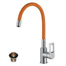 Z35-35U-Orange Rossinka Смеситель одноручный для кухни с гибким цветным изливом хром/оранжевый