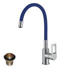 Z35-35U-Blue Rossinka Смеситель одноручный для кухни с гибким цветным изливом хром/синий