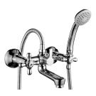 H02-83 Rossinka Смеситель для ванны с коротким изливом с держателем на теле хром H02-83