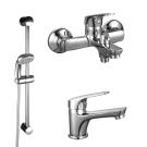 SET35-83 Rossinka Набор смесителей 3 в 1 (для ванны + для умывальника + душевой гарнитур) хром